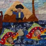 Sigrid Kenny - Marin's Class Quilt  detail showing Marin, her friend and her teacher