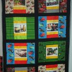 "Darlene Yetter - I have attached a photo of the quilt I made for my Brother.  I named it: ""Old Friends"" The pictures are of his Antique and Classic Cars and Tractors, some of which he lost in the 2003 San Diego Fires along with his home."